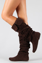 Dark Brown Faux Suede Slouchy Knee High Flat Boot Qupid Neo-100xx - $14.99