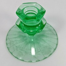 Uranium Vaseline Green Glass Stem Floral Etch Candle Stick Holder  - $18.49