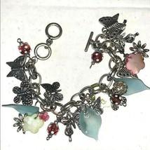 Chunky Charm Bracelet Butterflies & Flowers - $32.62