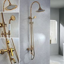 Wall Mount Contemporary Ti-PVD Finish Brass Shower Faucets - $669.19