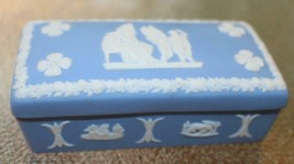 Wedgwood Jasperware Blue Lidded Trinket Box 3.5 x 1-3/4 x 1-1/4 inches - $24.70
