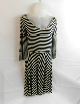 Calvin Klein Dress Size 4 Navy Blue Gray Striped Chevron 3/4 Sleeve - $18.70