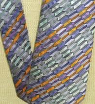 "Giorgio Armani Italy Neck Tie/Necktie Silk Orange Purple Silver stripe 60""x3.75"" - $40.49"