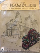 Old Sturbridge Village VTG Early American SAMPLER Embroidery Covered Bridge - $23.71