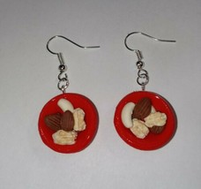 Bowl Of Nut Earrings Silver Wire Cashews Almonds Holiday Charm - $6.50