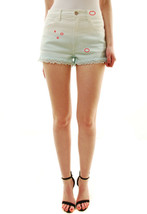 Wildfox Women's Denim with Lace Detailing Shorts White / Green RRP $ 130... - $90.59