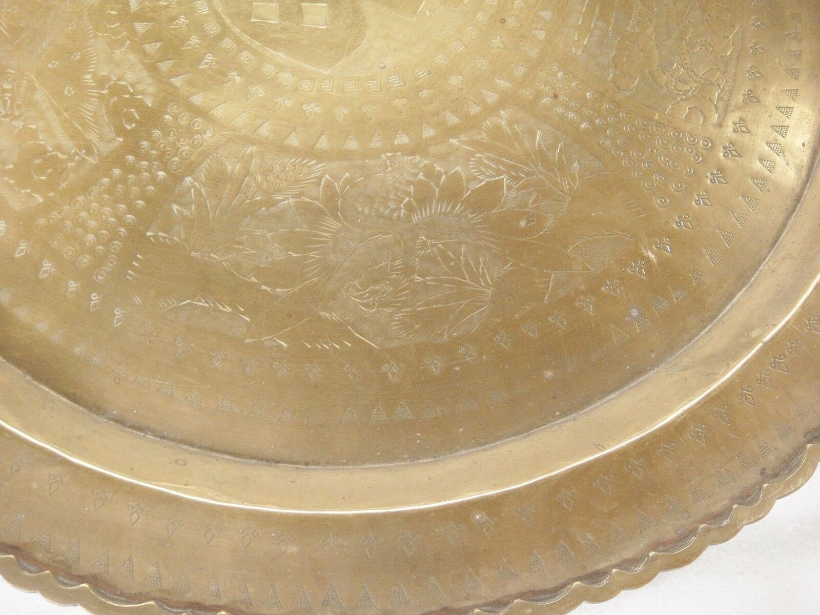 """Huge Brass Asian Tray Centerpiece Charger 22"""" Birds of Prey Rabbit Engraved HTF image 4"""