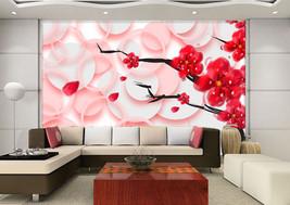 3D Rote Blumen, Blütenblatt 088 Fototapeten Wandbild Bild Tapete Familie Kinder - $51.18+