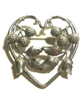 LEAVES AND BERRIES VINTAGE SILVER TONE HEART BROOCH - $45.00