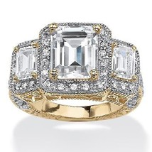 5.12 TCW CZ Halo Ring in 14k Gold over .925 Sterling Silver - €32,44 EUR