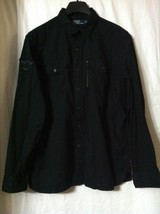 POLO RALPH LAUREN MENS NEW BLACK 100%COTTON CASUAL SHIRT SIZE:XL 2 FRONT... - $74.05