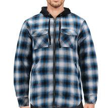 Tony Hawk Men's Casual Flannel Zip Up Plaid Sherpa Hoodie Lightweight Jacket image 8