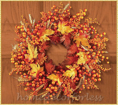 Fall Autumn Harvest Leaves Berries Wreath Door Porch Wall Hanging Home D... - $24.92