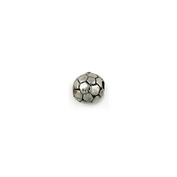 SOCCER BALL FINE PEWTER BEAD - 8mm Round  w/ 1.5mm Hole