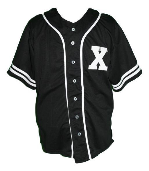 Malcolm x baseball button down jersey black   1