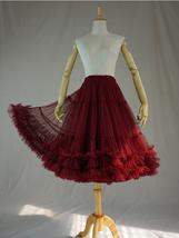 Burgundy MIDI Tulle Skirt Women High Waist Tulle Midi Skirt Ballet Dance Skirt image 1