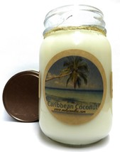 Caribbean Coconut 16oz Country Jar All Natural Soy Candle Approximate Bu... - €13,28 EUR
