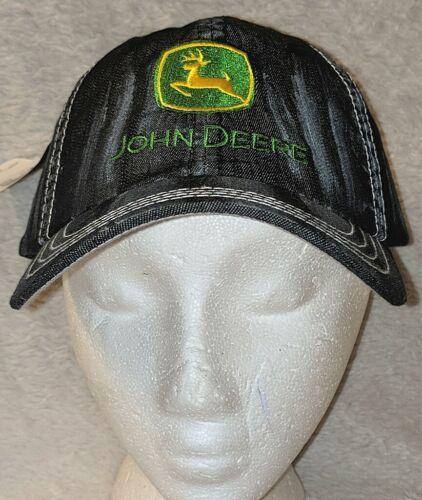 John Deere LP49279 Adjustable Black Stone Wash Denim Leaping Deer Logo