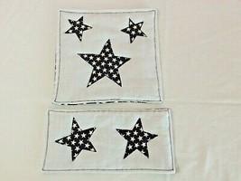 Set 2 Table Mats Stars White Blue Red Patriotic Appliqued Handmade New C... - $6.93