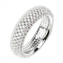 ZirconZ-Pave Signity CZ Mesh Set Eternity Sterling Silver Ring-Italian D... - $99.99
