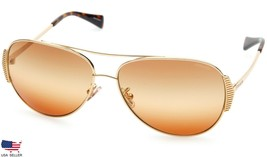New Coach HC7067 L1590 9238W8 Gold /DARK Tort With Brown Amber Lens Sunglasses - $79.19