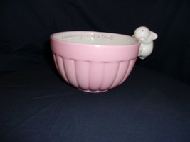 "Hallmark ""Somebunny Needs A Treat"" Pastel Pink Fluted Candy Bowl With Bu... - $10.99"