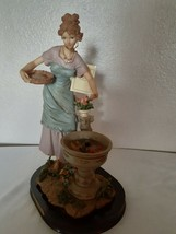 Vintage Gentili Collection Lady  By the fountain Wood Base 13'' X  9''  - $74.25