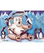ACEO Original Painting Penguin Juggling snow ice polar bear cartoon - $16.00