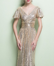 GOLD Maxi Sequin Dress Cap Sleeve High Waist Retro Style Maxi Long Sequin Dress image 2