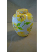 Decorative Ceramic Jar or Vase with Lid, White with Yellow Flowers, Gree... - $23.76