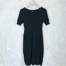 Talbots Pure Merino Wool Midi Sweater Dress Black Short Sleeve Womens Sm... - $45.53