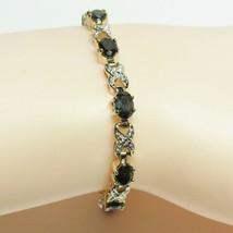 "HSN Technibond Gold Sterling Silver Sapphire Diamond Gemstone Tennis 7"" Bracelet image 1"