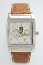 US Army Mens Stainless Silver Brown Leather Day Date 24hr Quartz Battery... - £26.54 GBP
