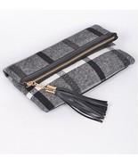 Boutique Nova Check Plaid Gray Tweed Fx Leather Clutch Cross Body Purse ... - $37.18