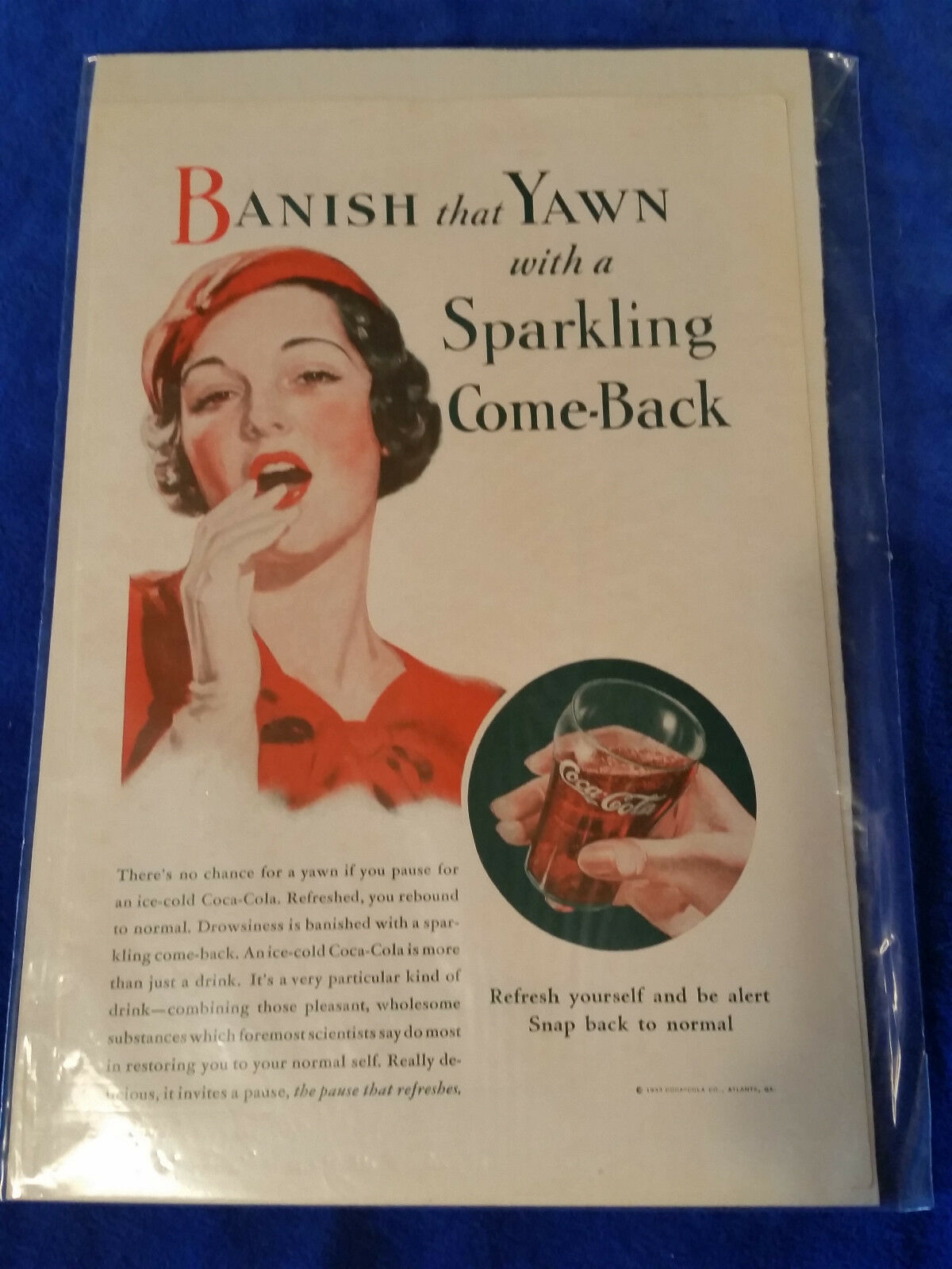 "Primary image for 1933 Original Coca Cola Magazine ad Sparkling Come Back 6 3/4""x10"""