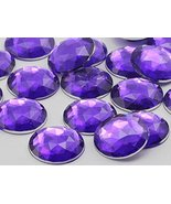 22mm Violet H132 Flat Back Round Acrylic Gems High Quality Pro Grade - 2... - $6.78