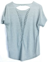 She + Sky Sea Blue Open Laced Ladder Back T-Shirt Top Size S image 2