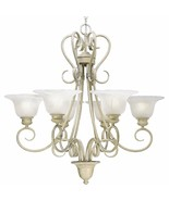 Graceful scroll design 6 Light Chandelier Hand Painted Finish P4044-18 - $386.04