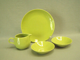 "Lot Vintage Rhythm Creamer 9"" Plate Fruit Bowls Homer Laughlin chartreus... - $14.25"