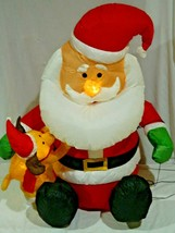 USED 4 Foot Christmas Inflatable Santa Claus Dog Puppy Lighted Yard Deco... - $40.59