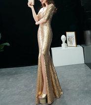 GOLD Sequin Maxi Formal Dress High Waist Side Slit Sequin Dress Wedding Outfits image 3