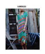 Bohemian Multicolored Striped Beach Dress Cotton Tunic Swimwear Cover Up... - $23.95