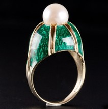 Vintage 1960's 14k Yellow Gold Cultured Round Pearl & Enamel Solitaire R... - $640.00
