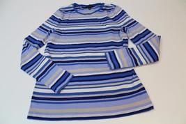 W12048 Womens TALBOTS 100% cotton blue/cream stripe crewneck SWEATER, size MED - $11.65