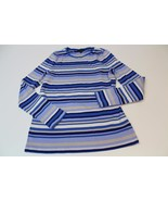 W12048 Womens TALBOTS 100% cotton blue/cream stripe crewneck SWEATER, si... - $11.65