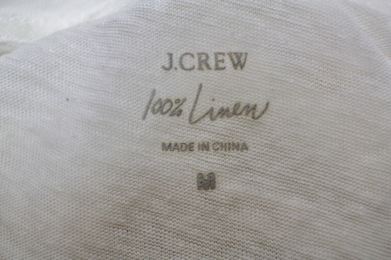 J Crew Boyfriend T-Shirt 100% Linen Tee Women's M White Short Sleeve Top Dolman image 5