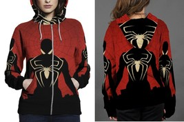 Spiderman In Black Hoodie Zipper Fullprint Women - $51.99+