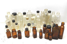 40+ pc Lot Antique Brown+Clear Apothecary Bottles Cork Twist Cap Mixed S... - $60.76