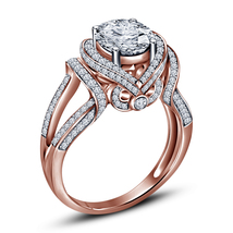 Flower Design Womens Diamond Engagement Ring 14k Rose Gold Finish 925 Si... - £55.68 GBP