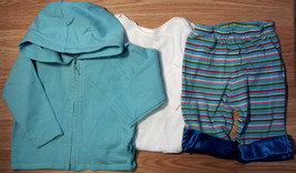 Girl's Size 3-6 M Months 3 Pc Baby Gap Blue Hooded Jacket, Striped Pants & Top - $13.00